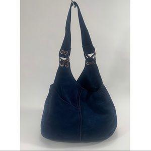 Lucky Brand suede hobo hippie style handbag navy